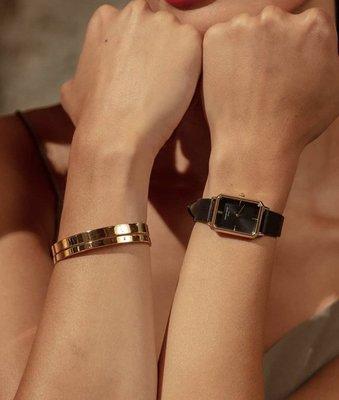 [SECOND LOOK]紐約品牌 ROSEFIELD 長方形 新款 斜角切邊 黑色 真皮錶帶 腕錶