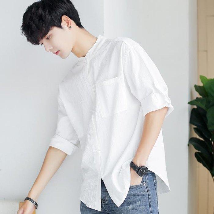襯衫 短袖襯衫男七分袖立領正韓潮百搭日系寬鬆中袖五分袖襯衣純色上衣
