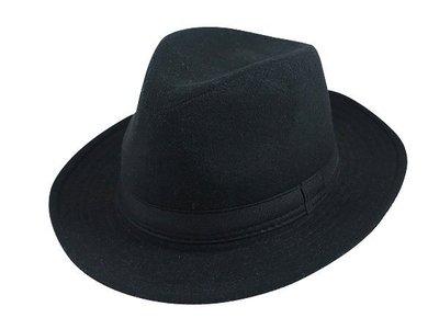 表演團體限定.紳士帽/經典時尚風格☆ 優質造型(寬邊)紳士帽/素黑色帶爵士帽/禮帽男式英倫紳士帽子-黑