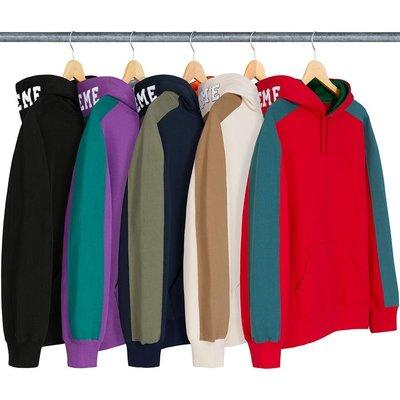 【美國鞋校】 預購  Supreme FW18 Paneled Hooded Sweatshirt 帽T 五色