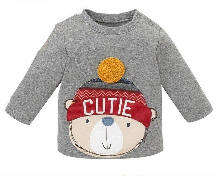 ☆草莓花園☆BM-2466毛帽熊熊 新品歐美風兒童長袖衣服 純棉童T 男童 兒童t恤