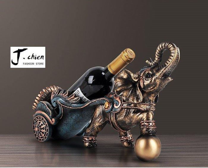J.chien ~[全館免運]吉象紅酒架 紅酒架 歐式裝飾品 客廳廚房玄關擺設品 喬遷新居禮盒 禮盒