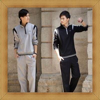 男長袖運動服套裝 新款氣質-好穿修身戶外休閒服2色52b4[韓國進口][米蘭精品]
