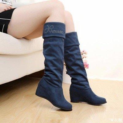 喔⌒Dear  過漆靴 長靴女過膝靴顯瘦長筒 內增高百搭高筒騎士彈力女鞋S002