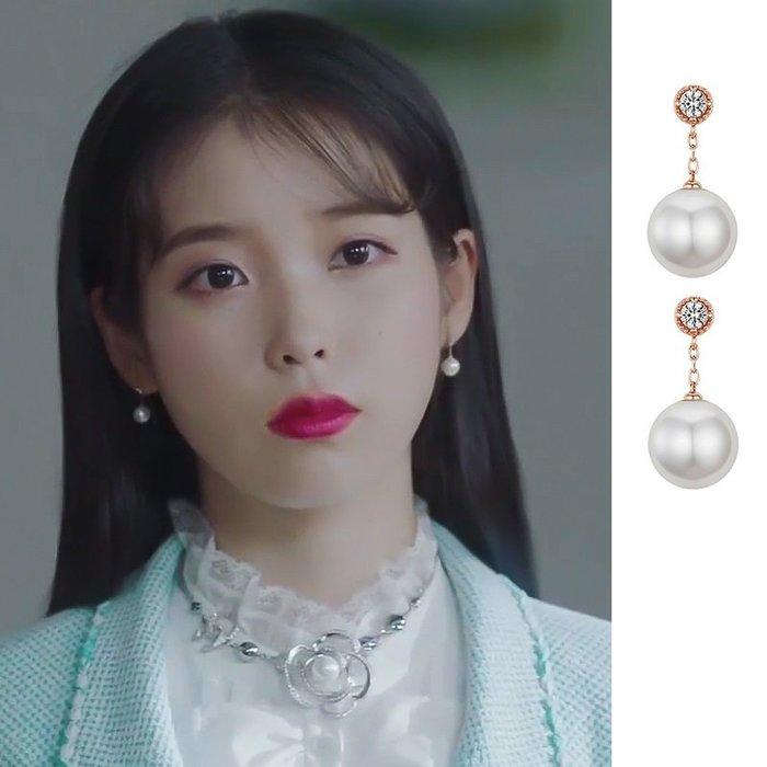 預購-韓劇同款德魯納酒店IU同款耳環李智恩高級感法式小耳釘2019新款潮個性網紅