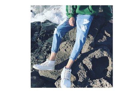韓國原裝 大尺碼 FINDSENSE 牛仔褲 刀割 破壞 破鬚 加大