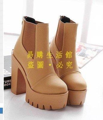 [王哥廠家直销]韓國代購新品粗跟防水臺馬丁靴拉鏈圓頭高跟短靴 女靴 4667-黑 棕3539 #嵐LeGou_2020_2
