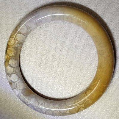 0719 天然珊瑚玉石 大花 圓骨菊花玉手鐲 10mm 內徑54.7mm 手鐲圍17.5公分 珊瑚玉手鐲 菊花手鐲