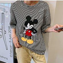 i-Mini 正韓|可愛生氣米老鼠厚款寬鬆條紋長版T恤 |‧ 韓國連線‧代購‧空運【03261229LY】