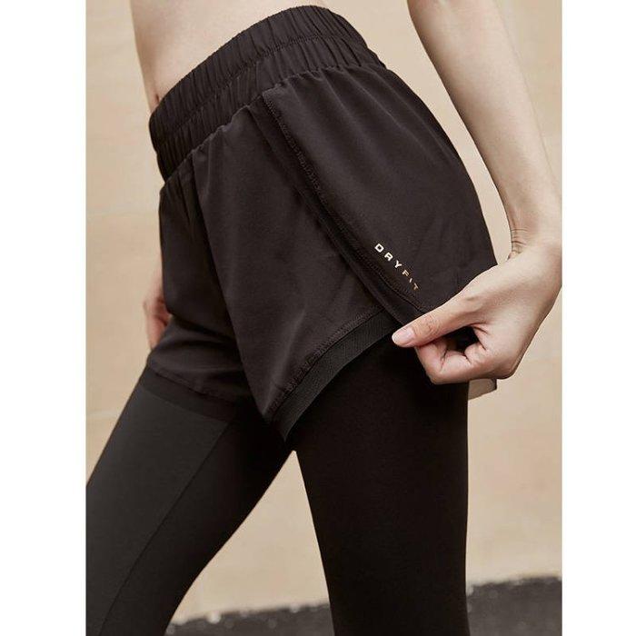 FuNFang_假兩件彈力提臀運動緊身褲 瑜珈跑步健身運動褲*3色