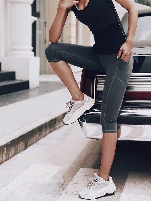 運動褲七分褲緊身高彈吸汗健美瑜珈跑步褲訓練外穿緊身運動褲七分褲子--崴崴安