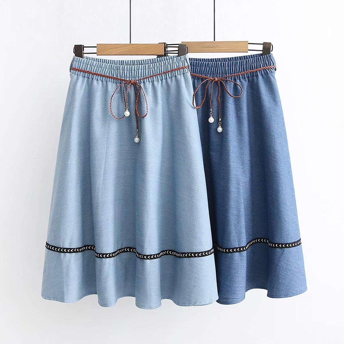 【47480】裙子  日系森女系珍珠繫帶寬鬆牛仔裙☆*藍荳荳小舖*☆(現貨+預購)