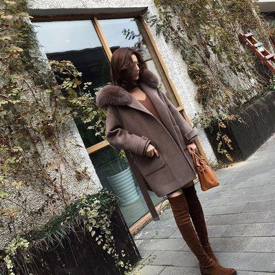 毛呢外套 長版大衣(零碼賠售出清、恕不退換)-純色寬鬆綁帶連帽女外套73wd16[獨家進口][米蘭精品]