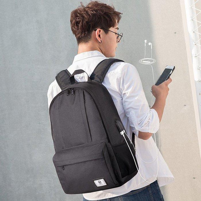 SX千貨鋪-新款韓版男士雙肩包中學生帆布書包休閑旅行包背包時尚潮流#男士背包#書包#單肩包#書包