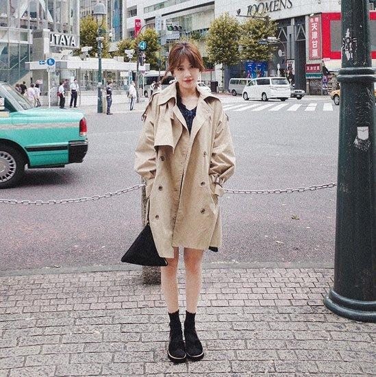 風衣中長版       韓版學生中長款復古港風風衣女休閒外套