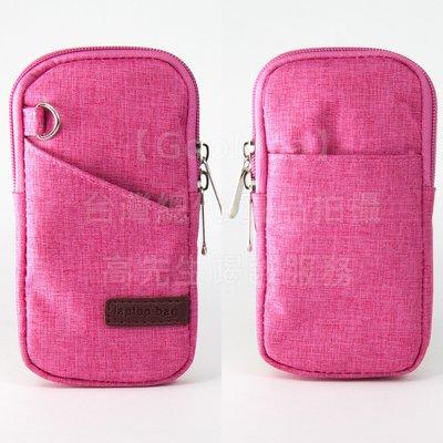 【GooMea】3免運 ASUS華碩 ROG Phone ZS600KL拉鍊款 亞麻布 手拿袋 手拿頸掛 玫紅