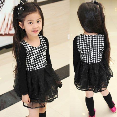 韓版《千鳥格紋款》紗裙 長袖洋裝 (J4-5)
