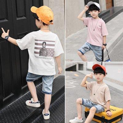 hello小店-男童短袖牛仔中褲兩件套夏裝2019新款男孩中童韓版潮時尚卡通套裝#兒童上衣#襯衫#短袖t恤#