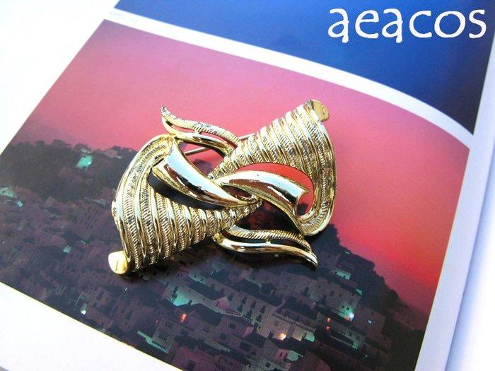 AEACOS@古董 古著 vintage retro 標記Coro 摩登 前衛 設計 精緻紋路 藝術線條 金色 別針胸針