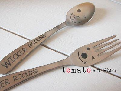 ˙TOMATO生活雜鋪˙日本進口雜貨WICKER ROCKING微笑曲線湯匙叉子(小款)
