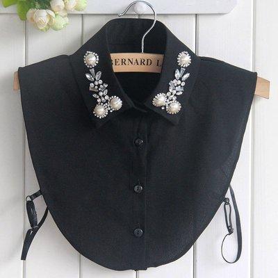 假領子襯衫領片-雪紡珍珠水鑽釘珠女裝配件2色73vk2[獨家進口][米蘭精品]