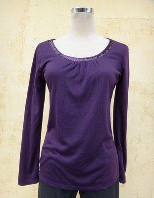 jacob00765100 ~ 正品 After All 紫色 領口手縫亮片 長袖棉T size: M