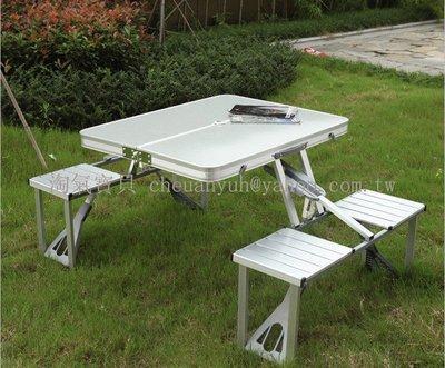 【淘氣寶貝】1565I 鋁合金連體桌椅 露營桌+野餐桌+折疊桌 可折疊 攜帶方便 特價~