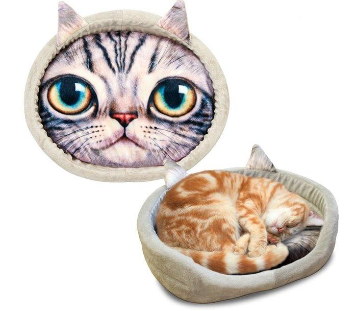 《特價促銷出清》日本 Marukan 貓窩CT-342(灰色貓臉) 適用全年齡貓/貓床/貓窩/貓墊/睡墊/軟墊