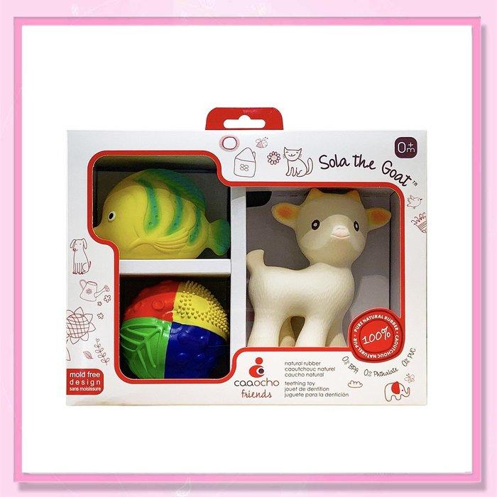 <益嬰房>CaaOcho® 可趣 新生兒禮盒 (山羊咬牙器/四色球/拉拉魚洗澡玩具) 固齒器