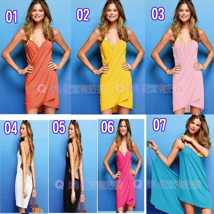 Q媽 歐美海邊沙灘裙 性感連衣裙 比基尼外罩衫10度假裙