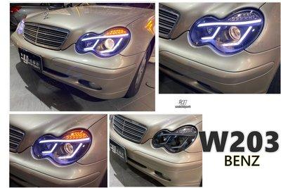 小傑車燈精品--全新 BENZ W203 導光 光條 LED方向燈 黑框 魚眼 大燈 W203大燈