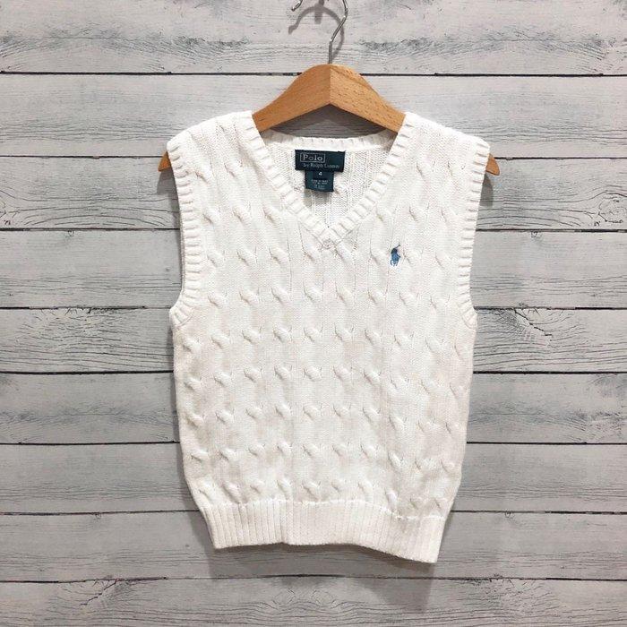 Maple麋鹿小舖 美國購買 童裝品牌POLO RALPH LAUREN 男童白色針織背心 * ( 現貨4號 )
