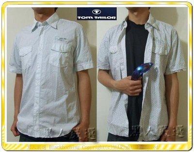 全新 TOM TAILOR 棉質 菱形格子襯衫 黑 天藍兩色 短袖L號《NT01》