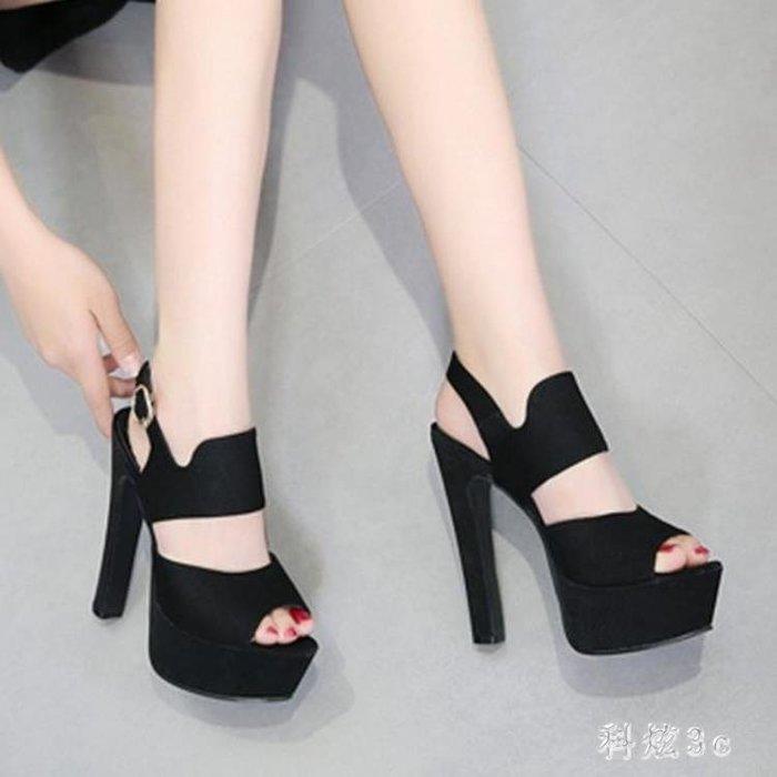 涼鞋新款14CM超高跟中大尺碼歐美風魚嘴后空粗跟漏腳趾顯瘦女涼鞋 js5935