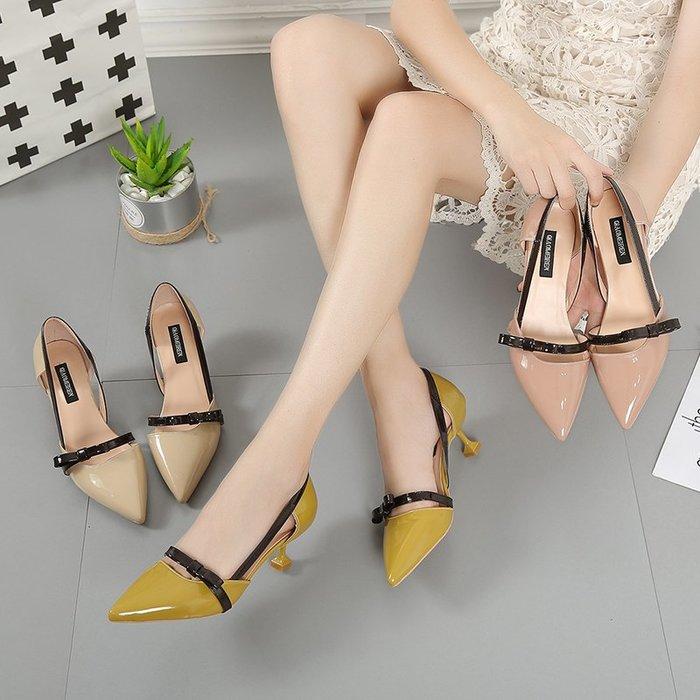 涼鞋 尖頭高跟鞋女夏細跟2019新款韓版百搭淺口側空性感優雅貓跟單鞋潮