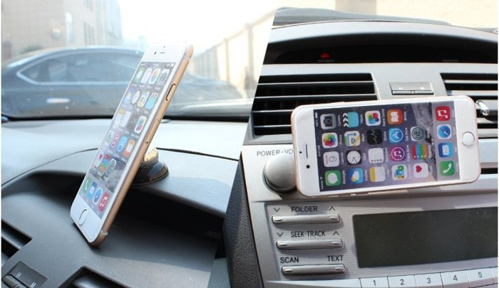 磁性吸附粘貼多功能車載手機架 車用蘋果三星手機萬能磁鐵支架