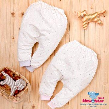 【晴晴百寶盒】有機棉新生兒長褲 水玉點點款 質地柔軟舒適 天然材質吸汗又透氣 精心設計一體成型 台灣製造 S077