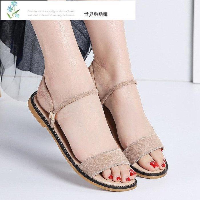 仙女的鞋 少女平底涼鞋 2019新款氣質時尚平跟溫柔風配裙子的夏天穿 海灘鞋 涼鞋 溯溪鞋 運動鞋 戶外鞋