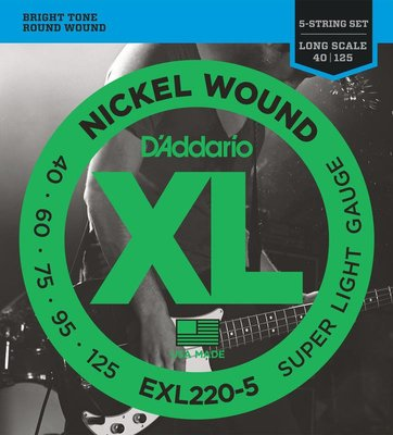 【成功樂器.音響】D'Addario EXL220-5 Nickel Wound 5-String 40-125 貝斯弦