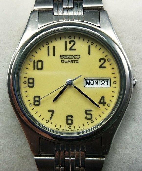 OQ精品腕錶   日本精工石英錶水晶镜面不含龍頭37MM行走正常夜光面。