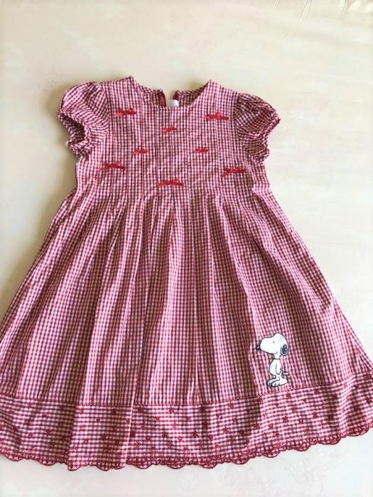 百貨專櫃儀大 Snoopy 史奴比紅色格紋刺繡小花蝴蝶結典雅洋裝-130cm-低價起標
