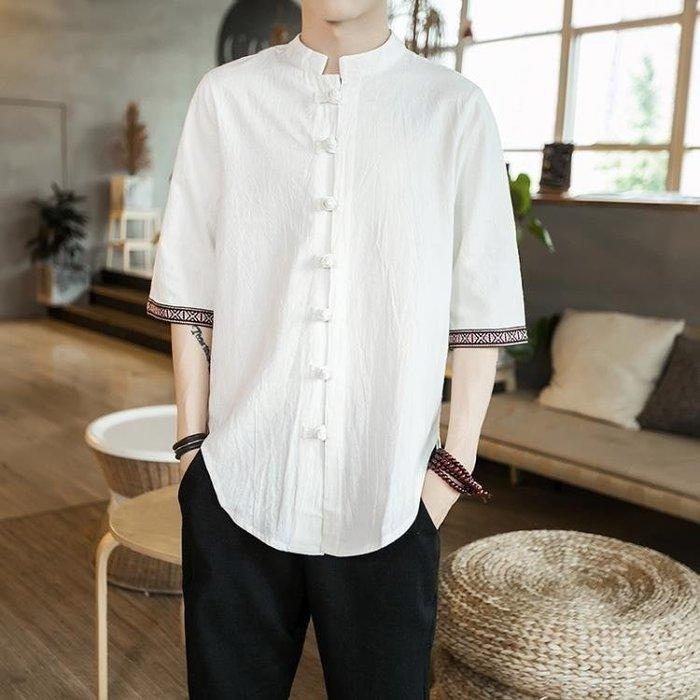 BELOCO 中國風亞麻T恤男短袖盤扣棉麻襯衫寬鬆男士襯衣POLO衫BE655