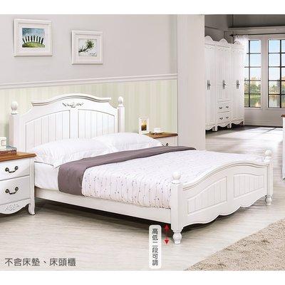 【森可家居】瑪莎白色5尺床台 8HY37-01 英法式鄉村風 雙人床架 框 全實木