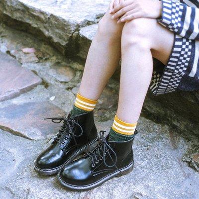 娃娃鞋牛津鞋休閒鞋 鹿與深林 馬丁靴女英倫風系帶真皮短靴女高幫女鞋圓頭復古小皮鞋
