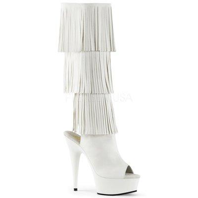 Shoes InStyle《六吋》美國品牌 PLEASER 原廠正品流蘇厚底高跟魚口及膝中長筒馬靴 出清『白色』