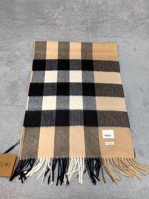 【全新正貨私家珍藏】BURBERRY 經典駝色純羊絨超長圍巾((200*36CM)2019新標~