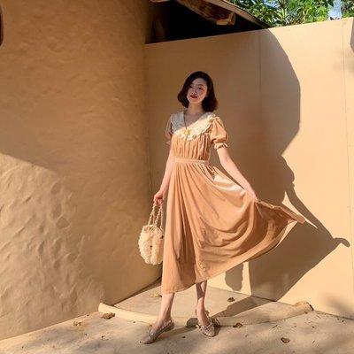 袁先生の家 《Afternoon Manor》復古宮廷蕾絲花邊絲絨連衣裙