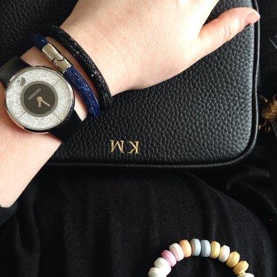SWAROVSKI 施華洛世奇款 單圈手環-----純黑銀釦(原價2990元)