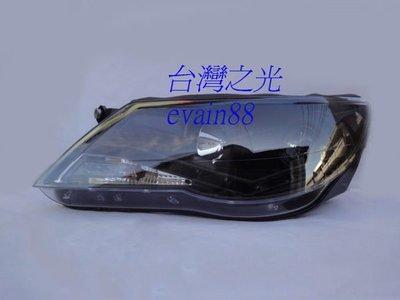 《※台灣之光※》全新新型VW福斯TIGUAN 08 09 10年黑框R8 LED日行燈+DRL魚眼投射大燈組非大陸貨
