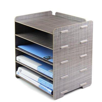 86文件架創意大政辦公用品桌面A4文件筐5層資料收納架木質文件架